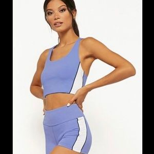 Active workout set shorts and sports bra